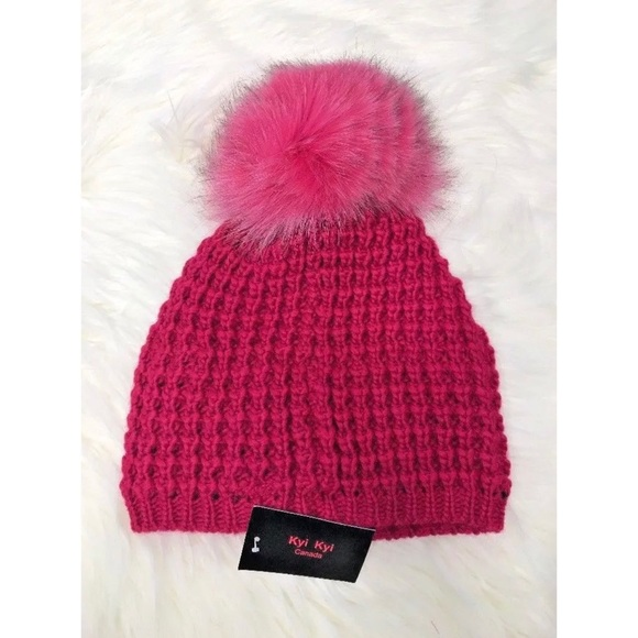 a33e22661c2 Kyi Kyi Genuine Fox Fur Pompom Wool Blend Beanie